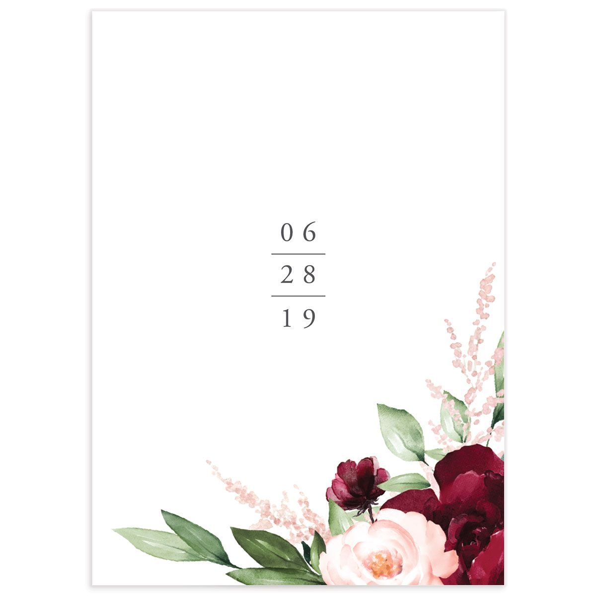 Red Beloved Floral Wedding Details Cards Back