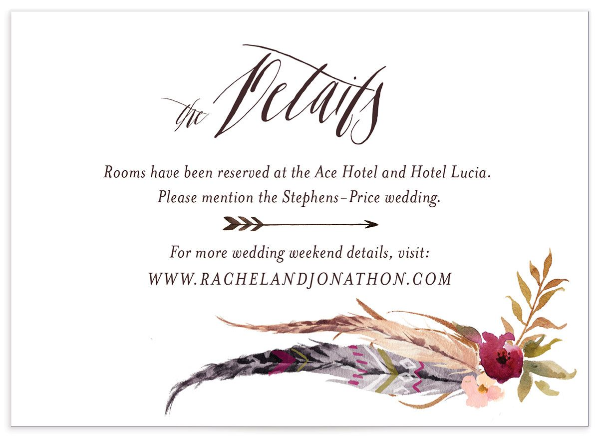 bohemian floral wedding enclosure cards in pink