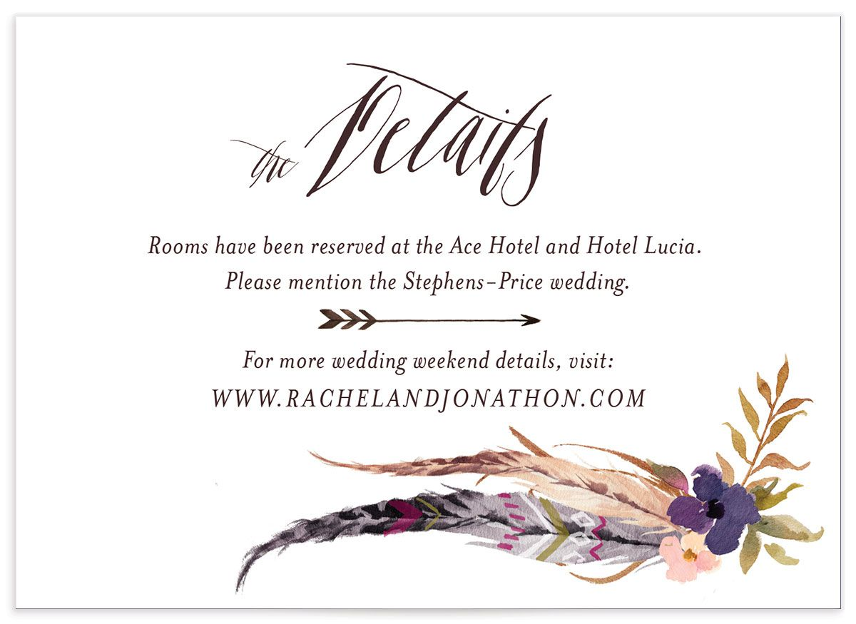 bohemian floral wedding enclosure cards in purple