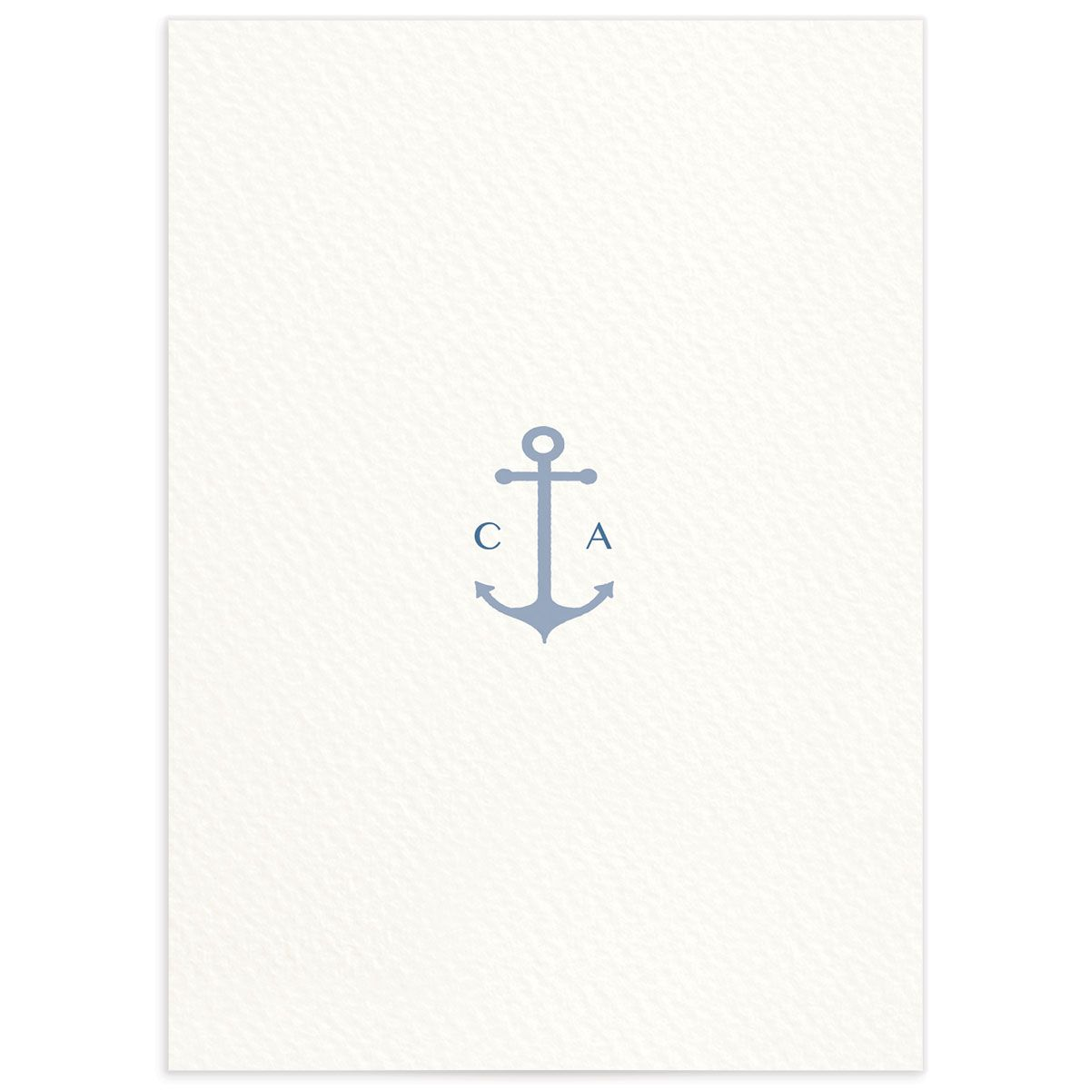 Coastal Love wedding details card in blue back