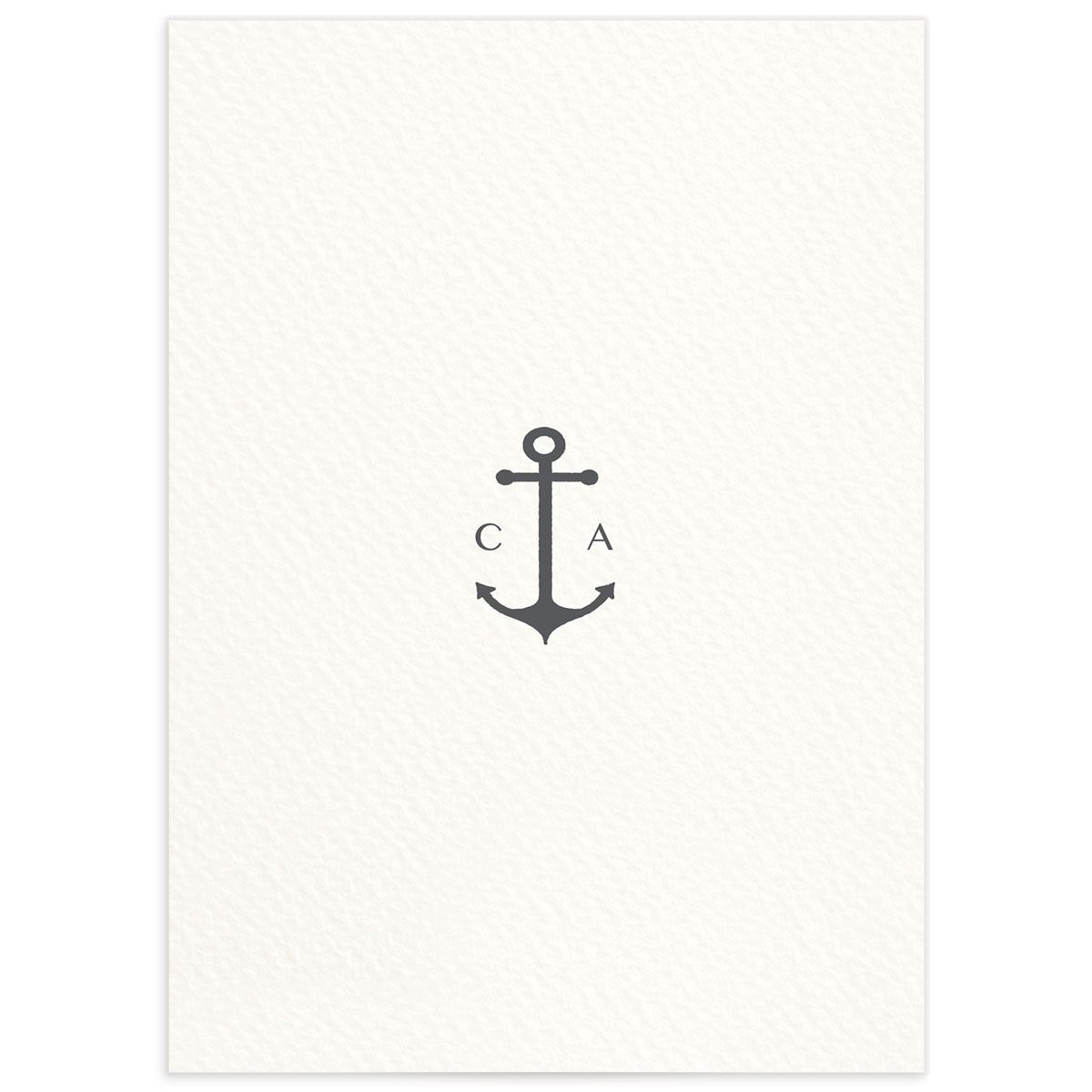 Coastal Love wedding details card in grey back