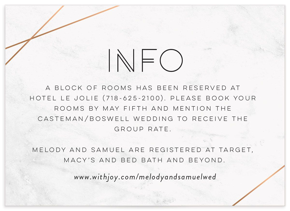 geometric marble wedding details card