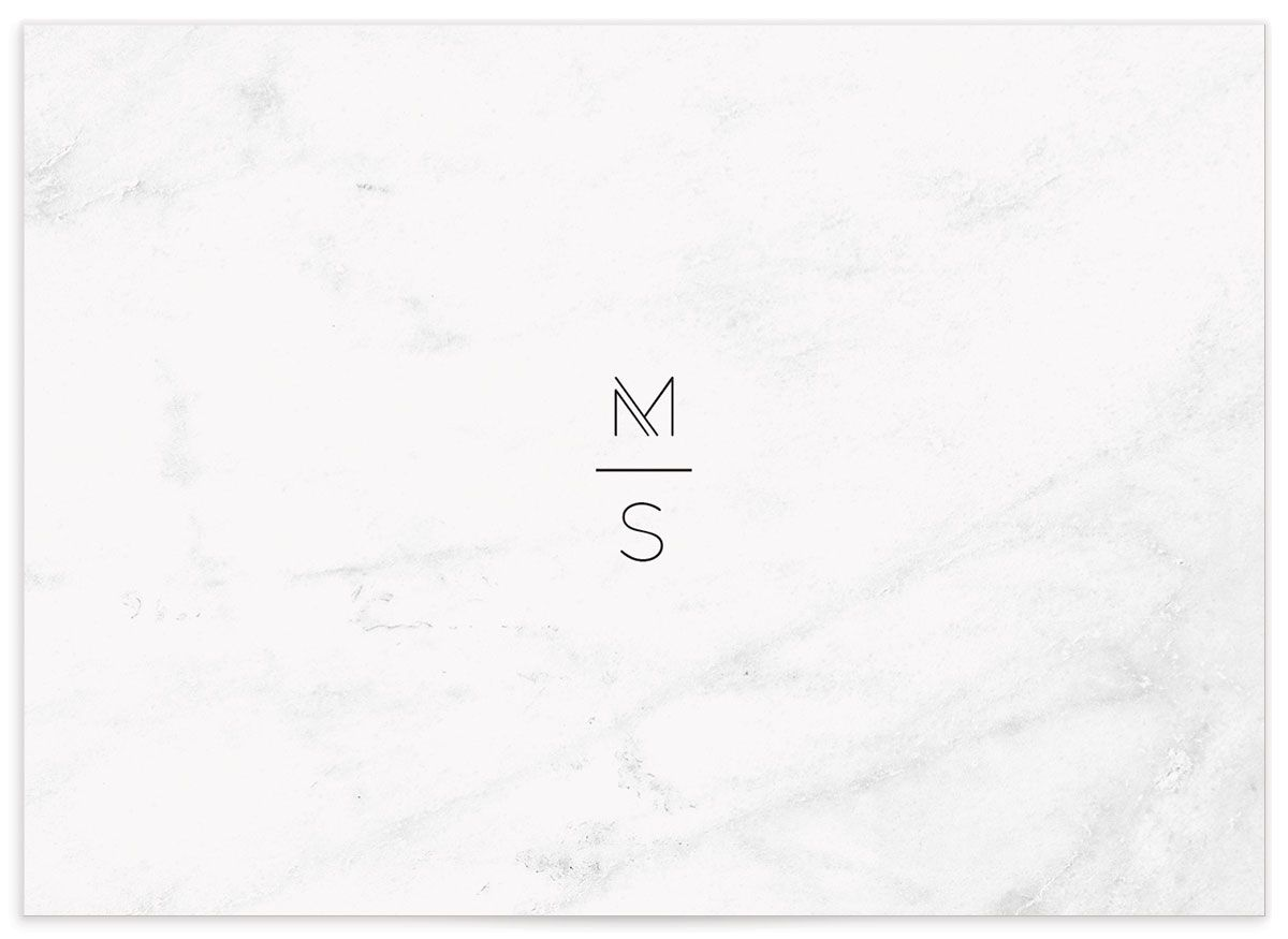 geometric marble wedding enclosure card back