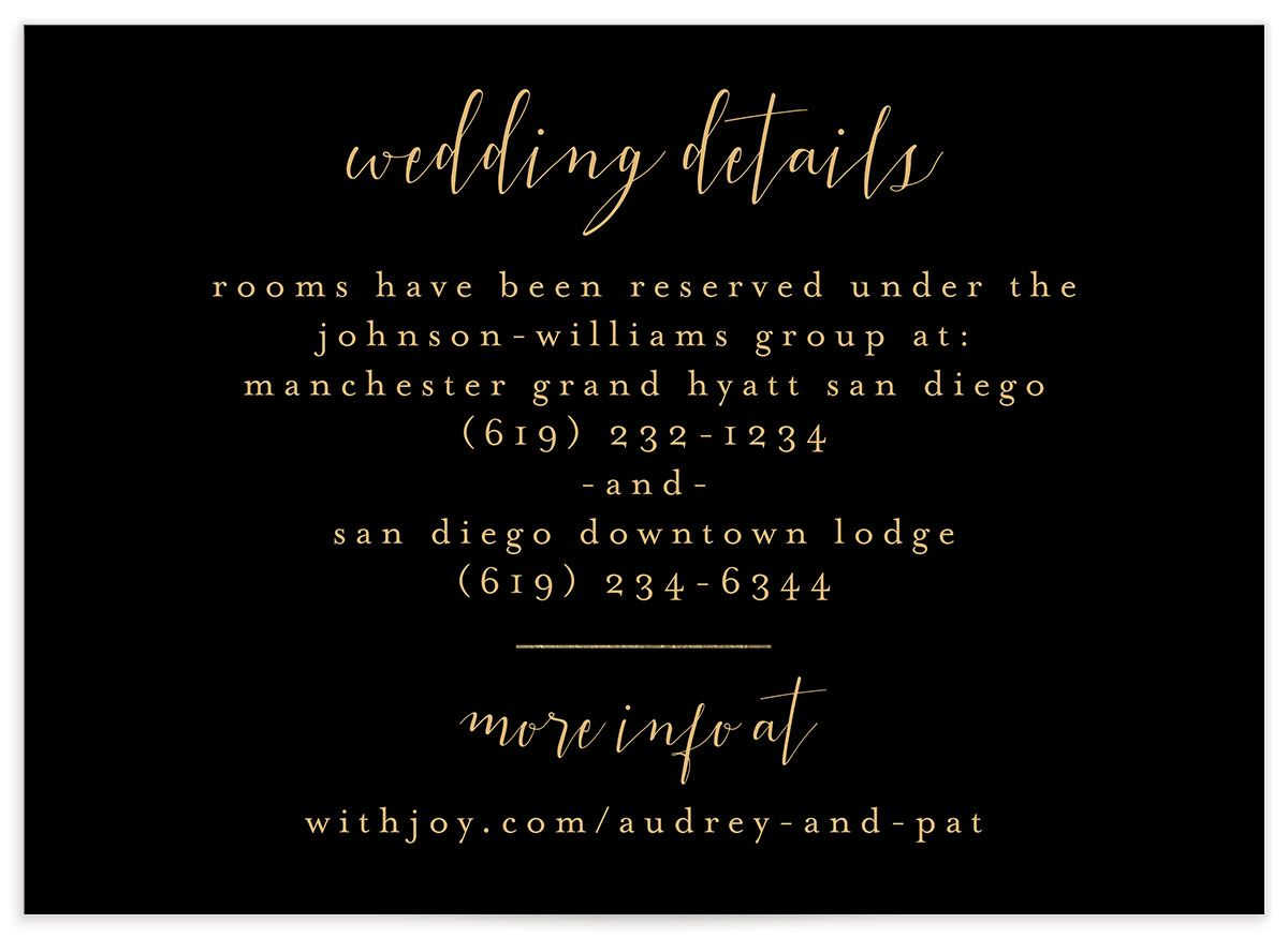 Marble and Gold wedding details card closeup black