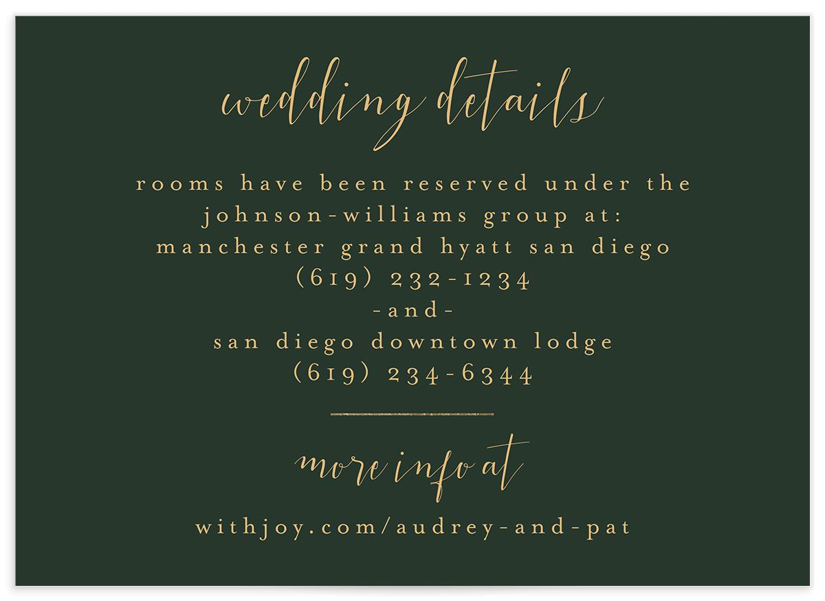 Marble and Gold wedding details card closeup green