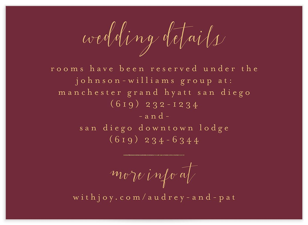 Marble and Gold wedding details card closeup red