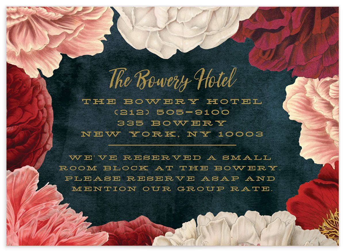 midnight peony wedding enclosure cards