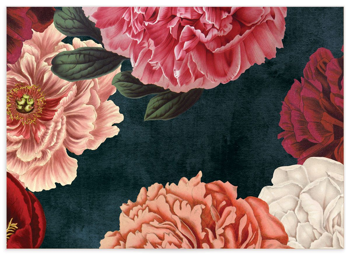 midnight peony wedding enclosure cards back