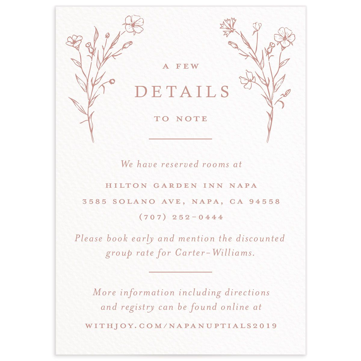 Natural Monogram wedding enclosure cards in pink front