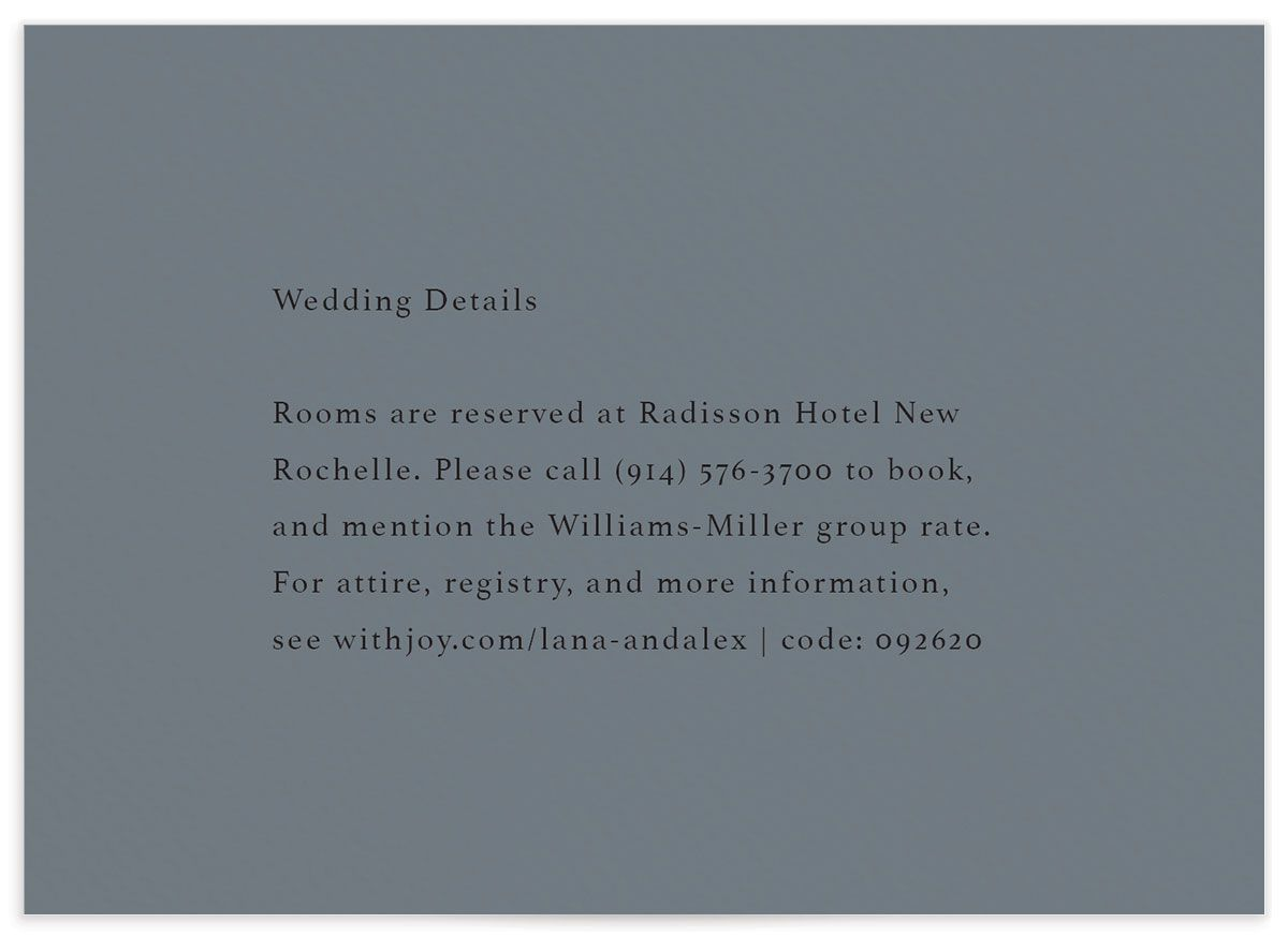 Natural Palette wedding details card in blue front