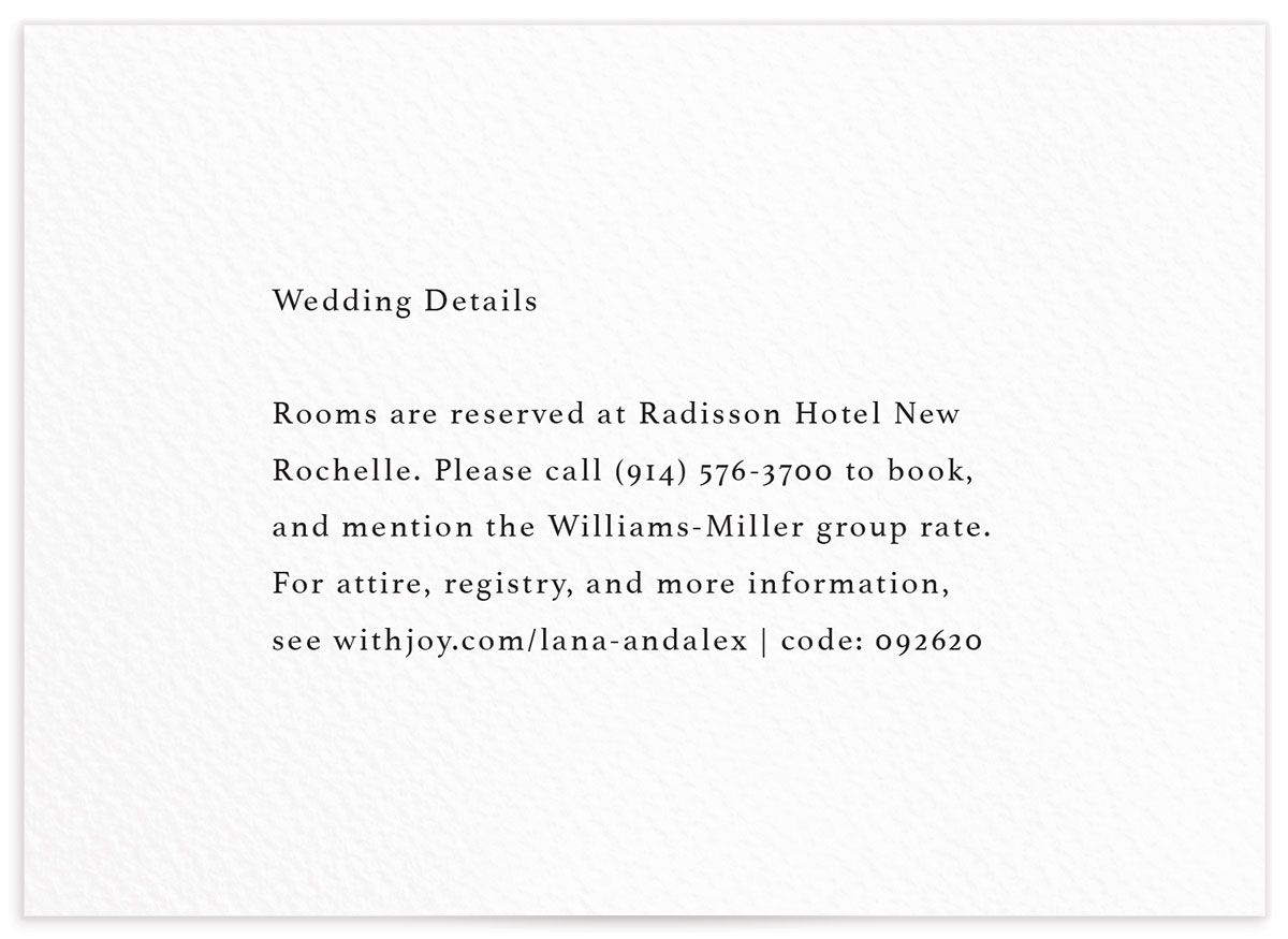 Natural Palette wedding details card in white front