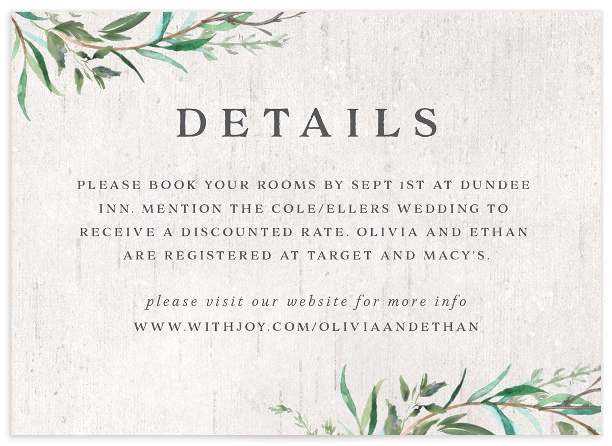 Natural Laurel enclosure card front