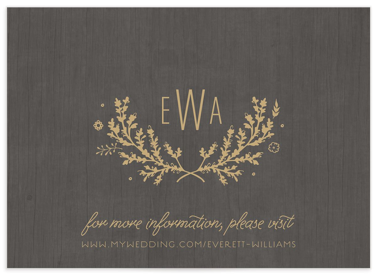 rustic chic wedding enclosure cards in gold back
