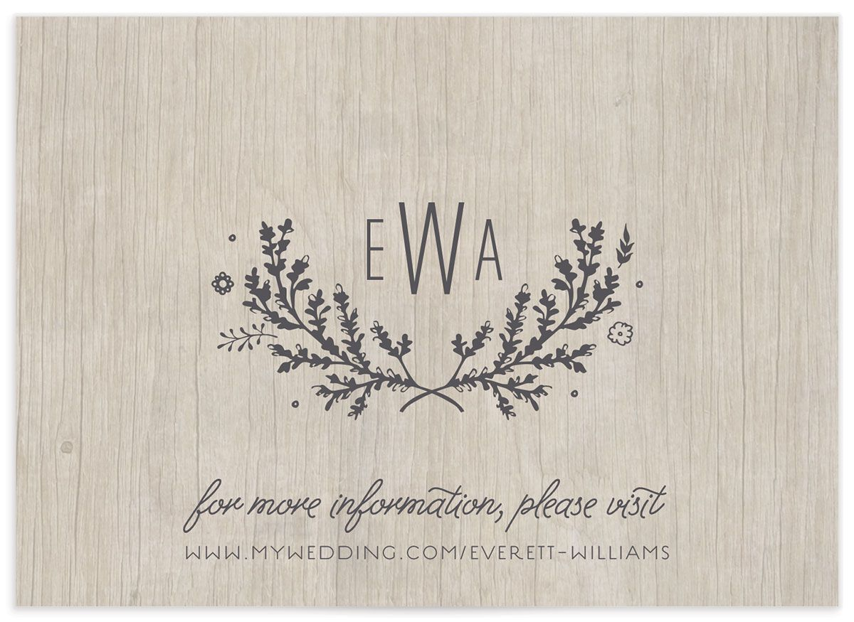 rustic chic wedding enclosure cards in grey back
