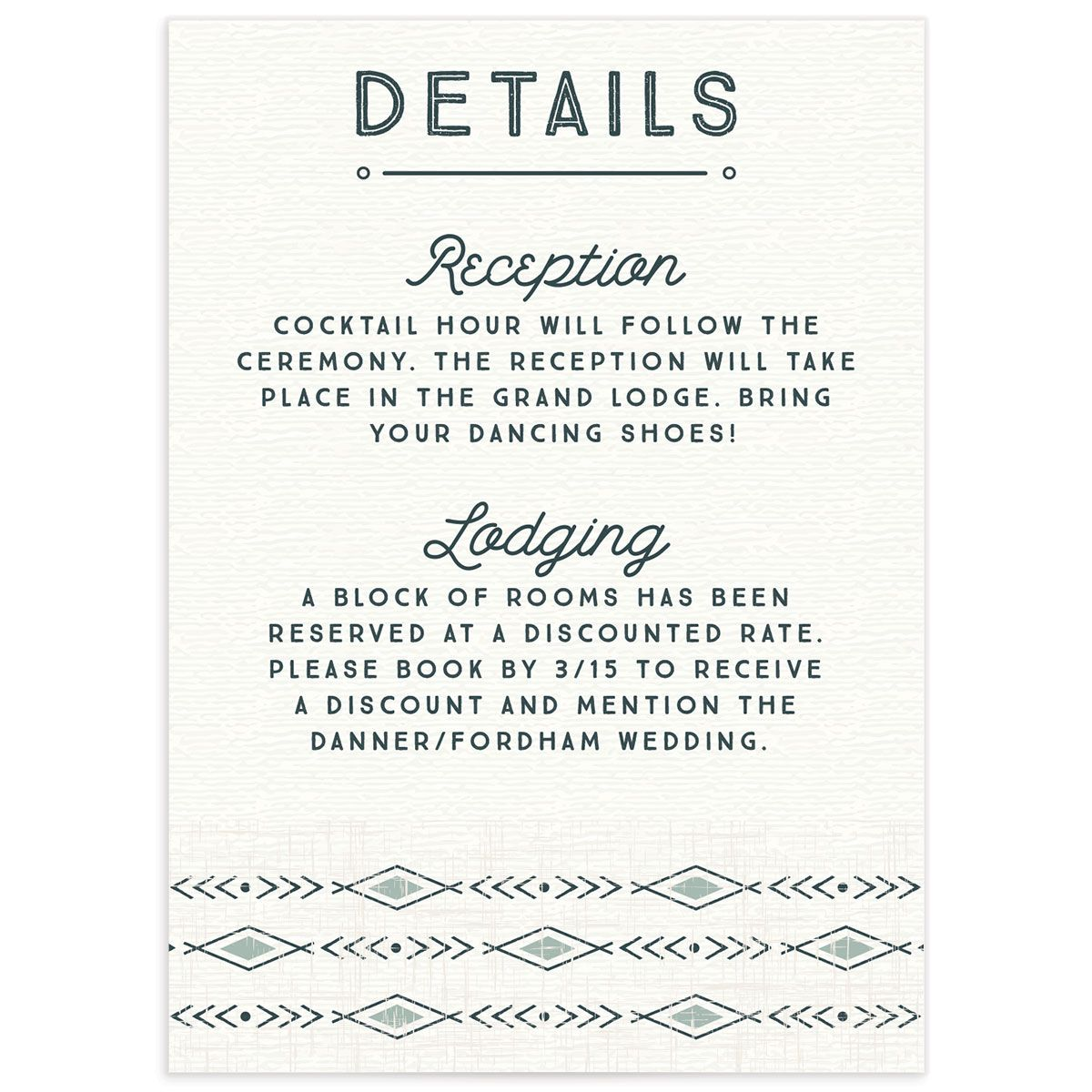 Vintage Mountain Wedding Enclosure card front