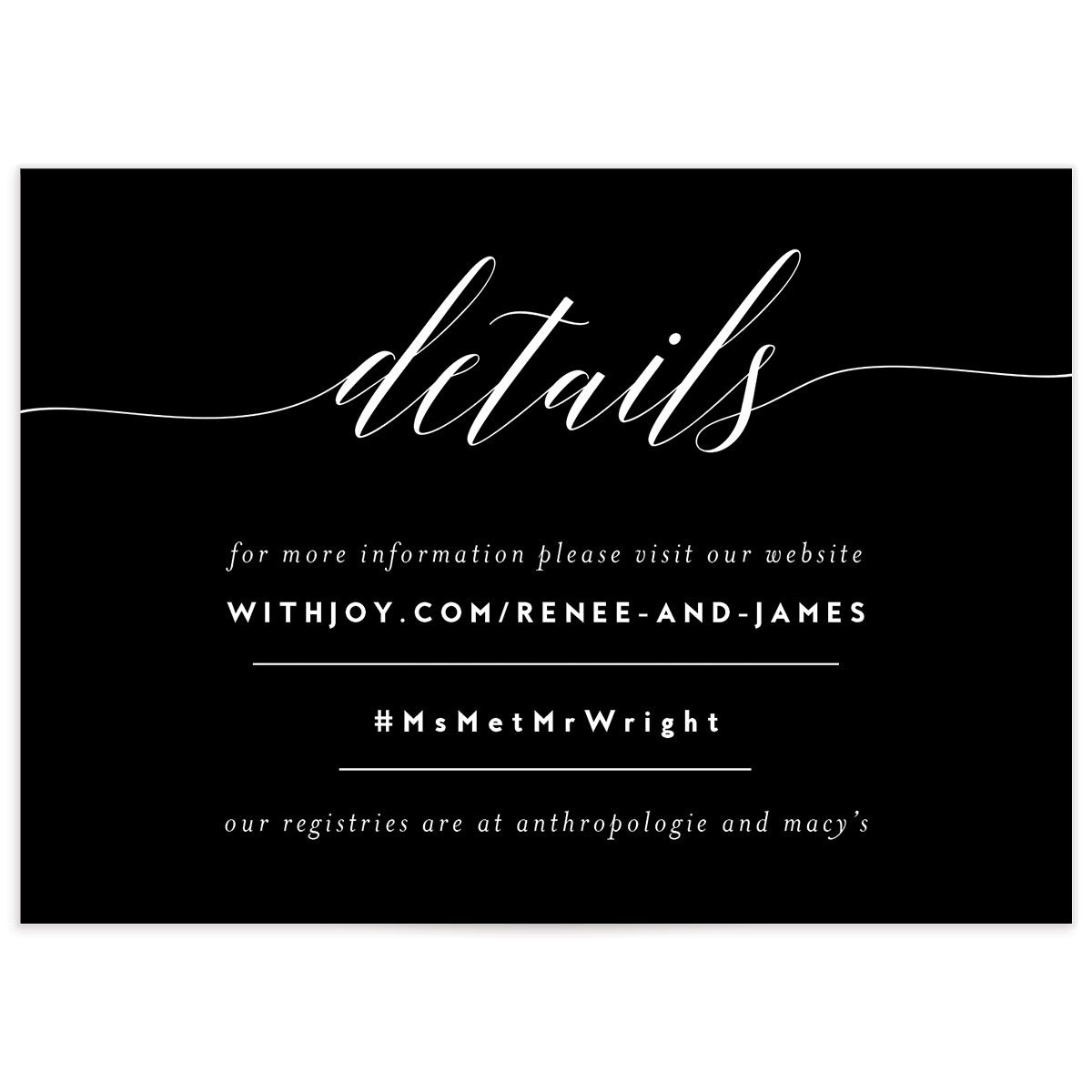We Do wedding details cards in black front