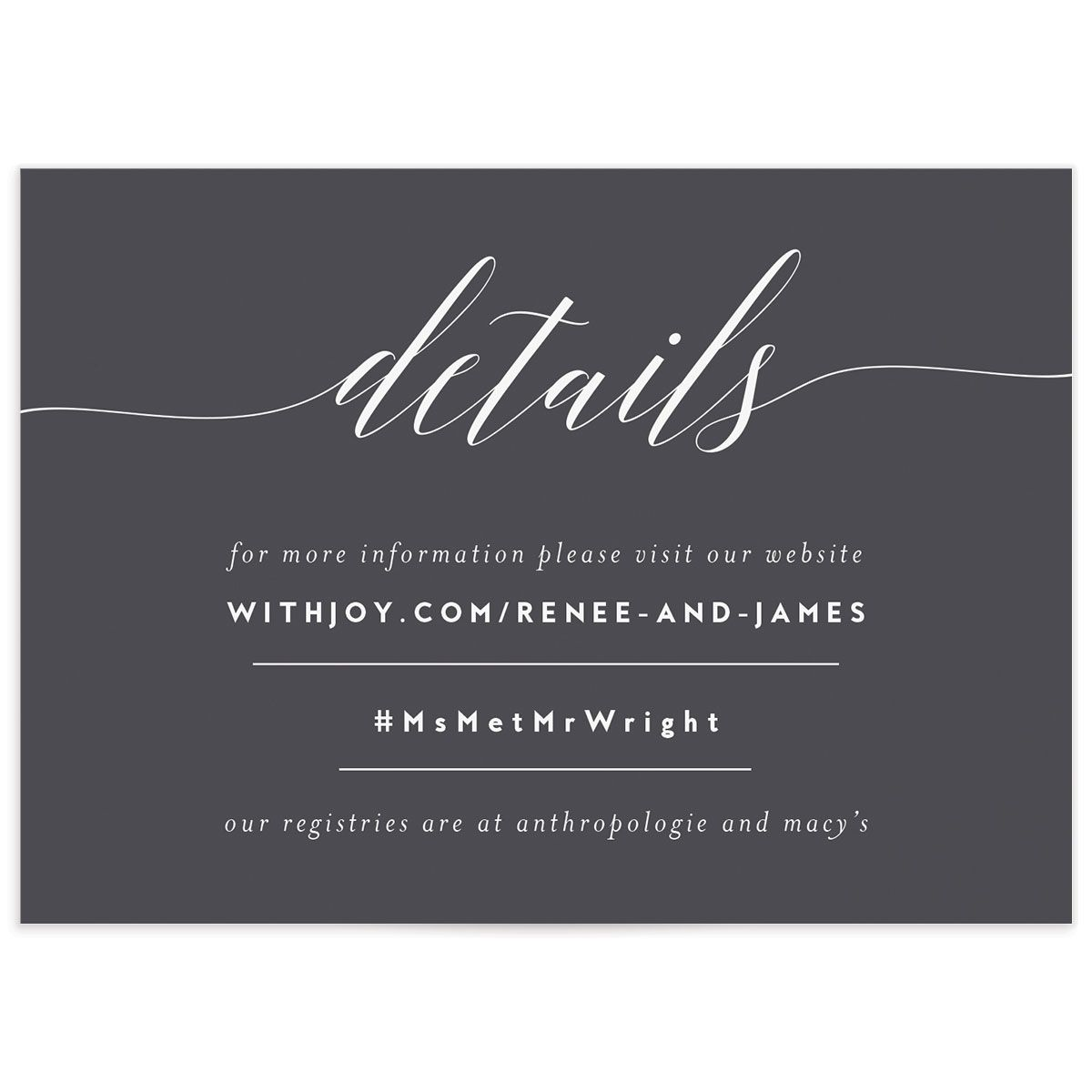 We Do wedding details cards in grey front