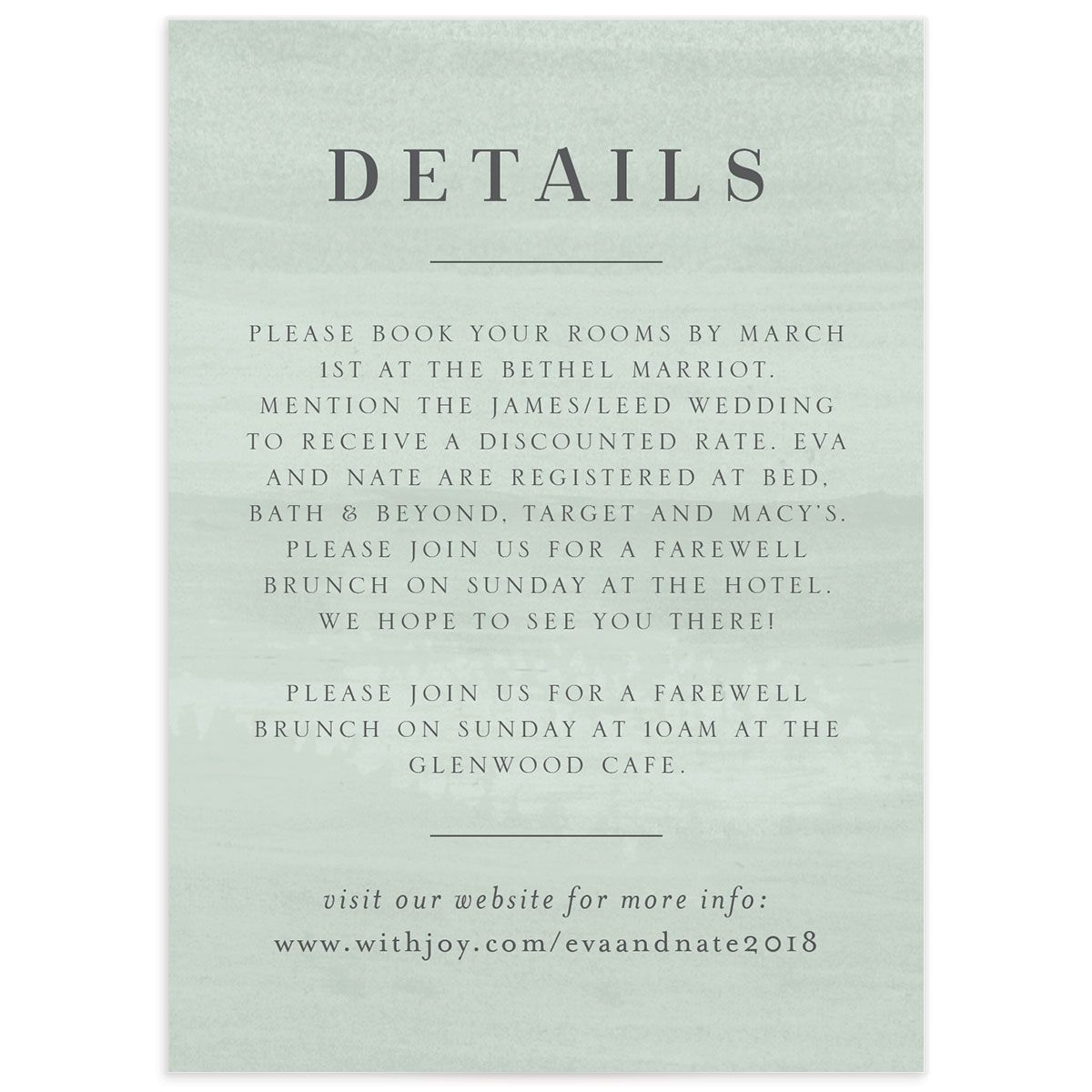 wild wreath wedding details card in green