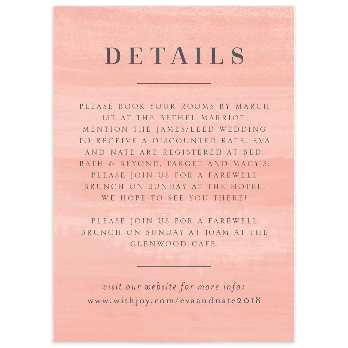 wild wreath wedding details card in pink