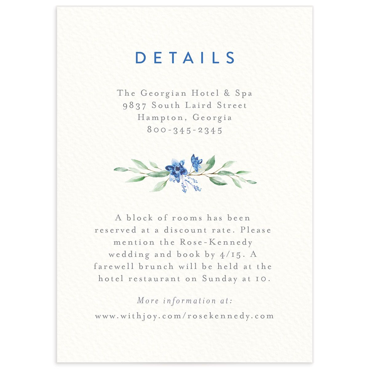 watercolor crest wedding enclosure cards in blue