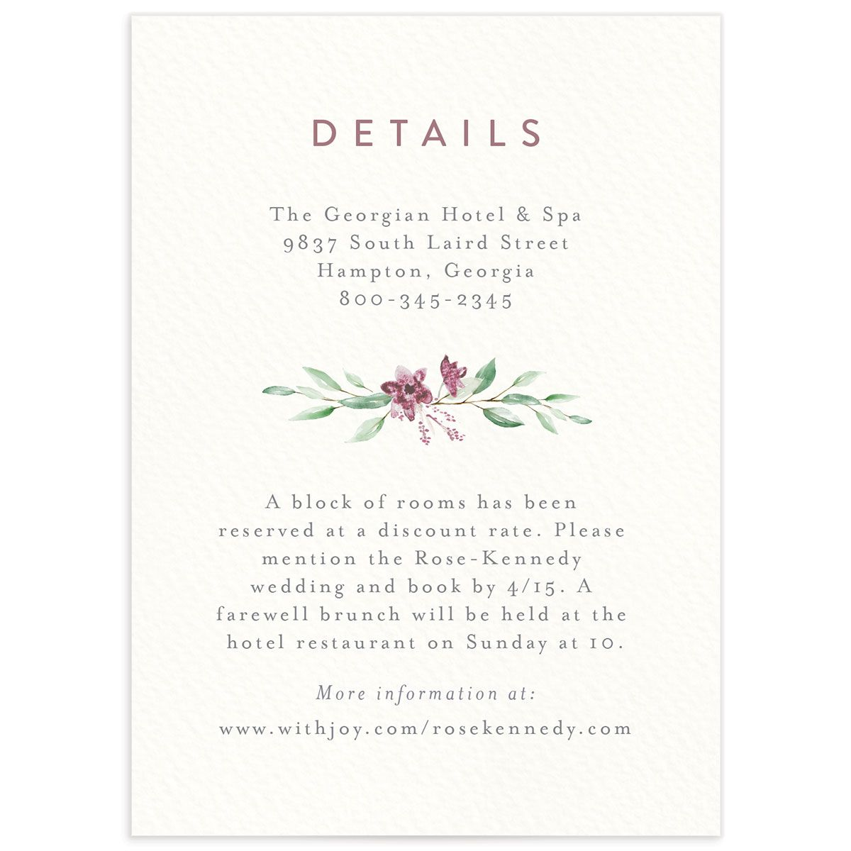 watercolor crest wedding enclosure cards in pink