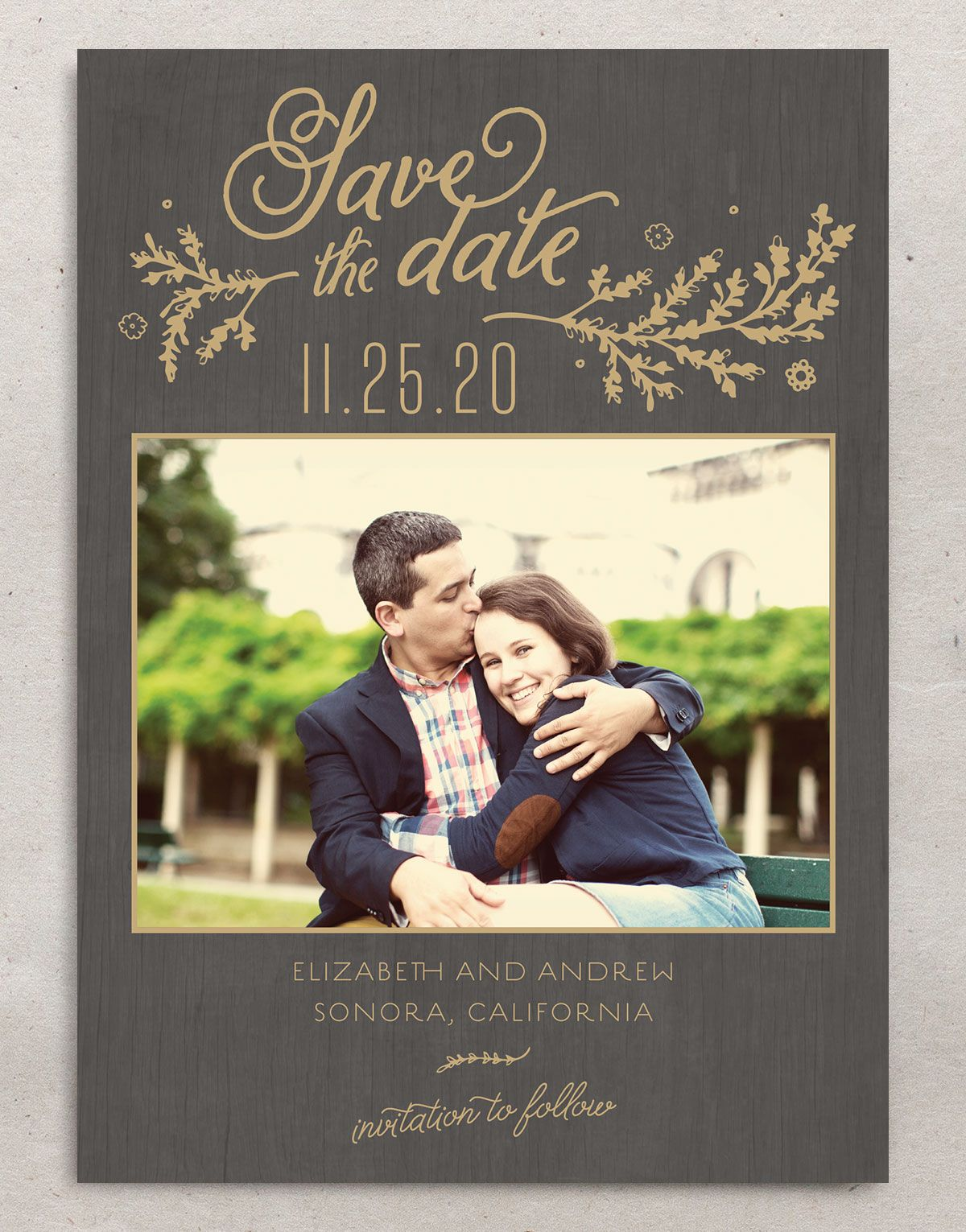 rustic chic photo save the date cards in gold