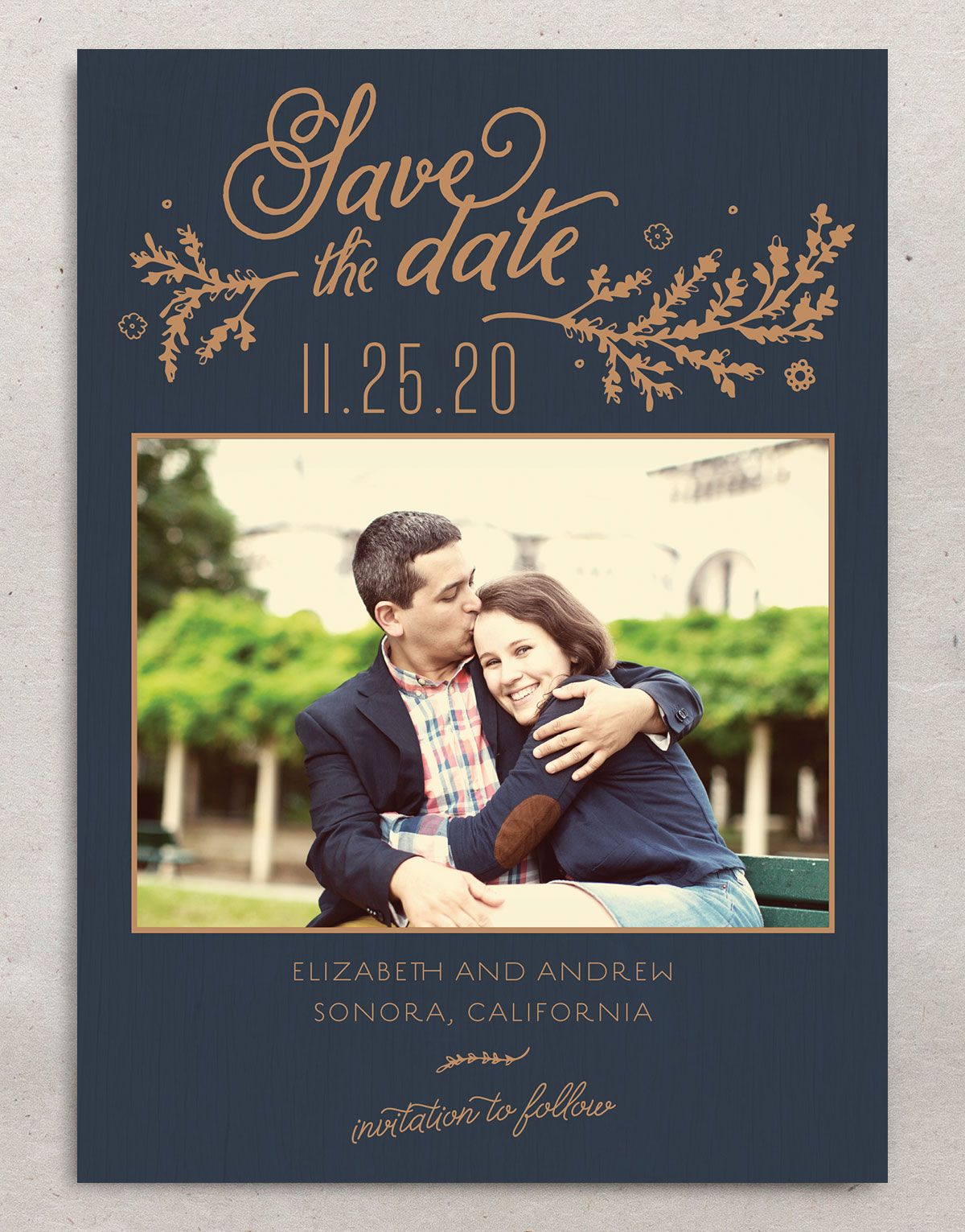 rustic chic save the dates in navy