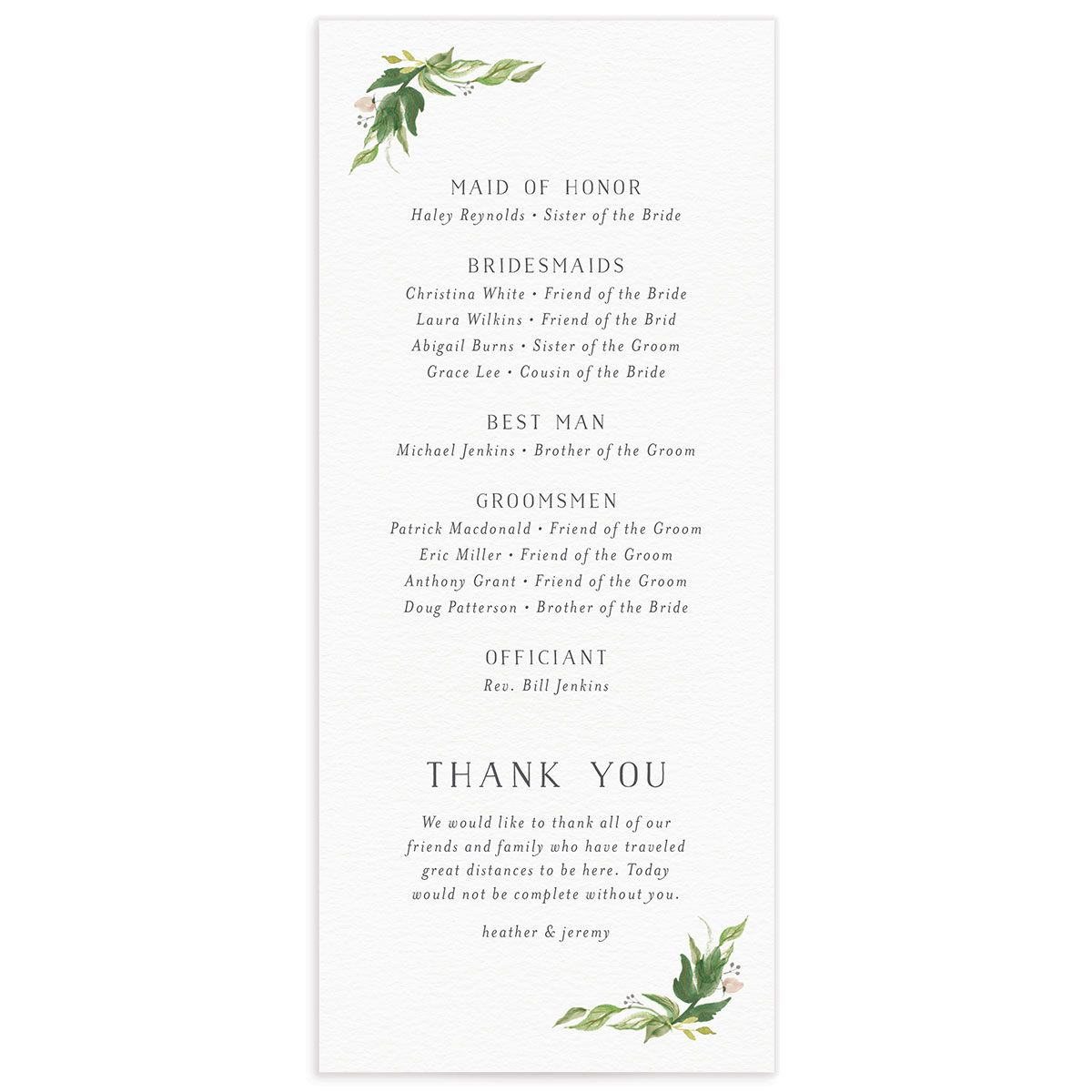 leafy wreath wedding programs in green back