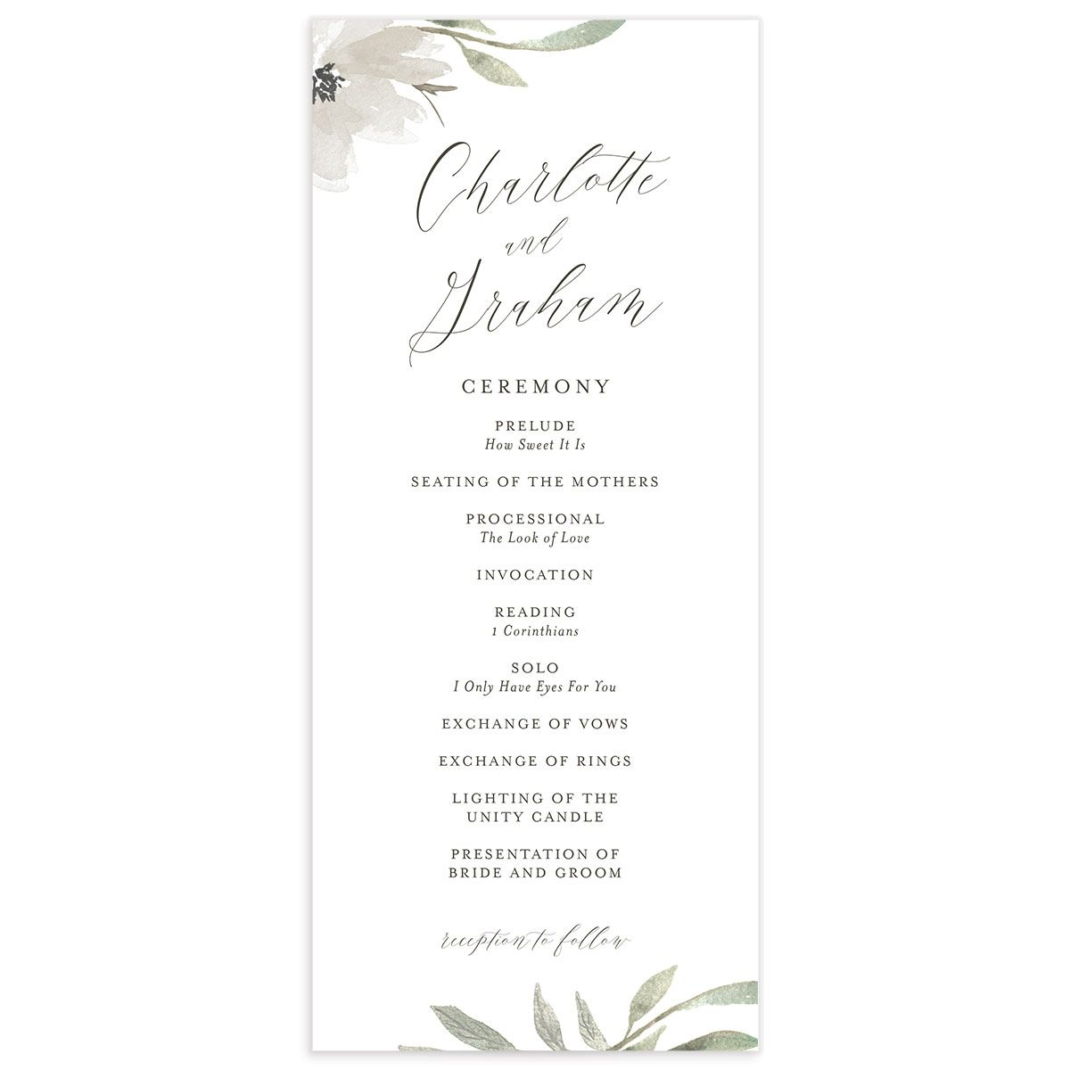 muted floral wedding programs in white