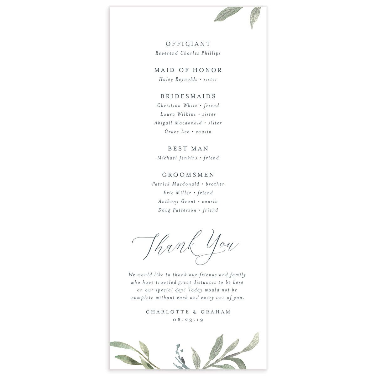 muted floral wedding programs in dusty blue back