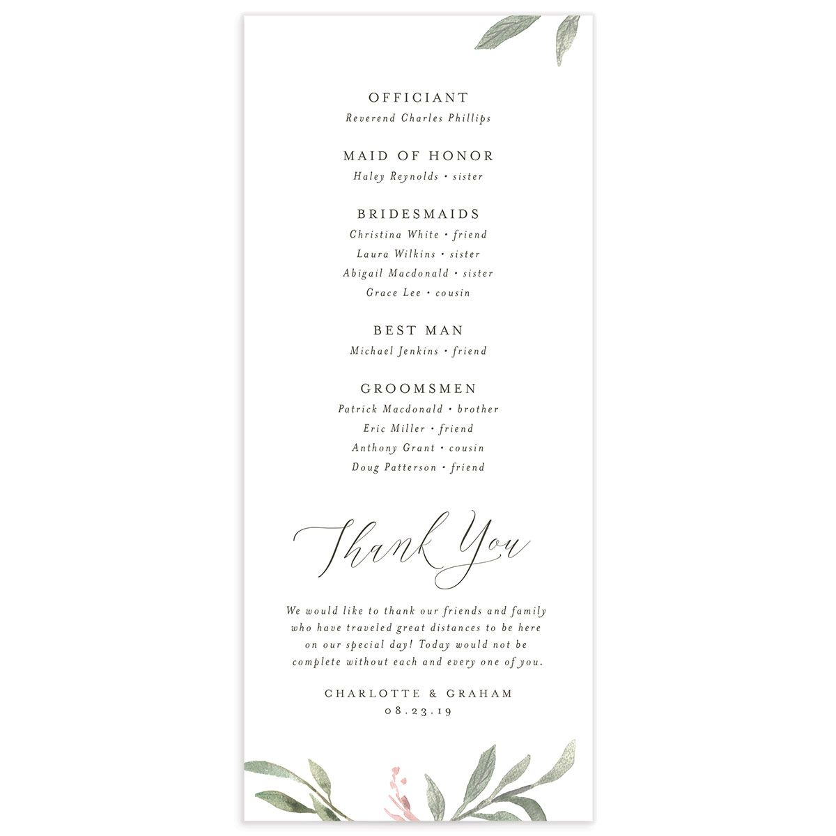 muted floral wedding programs in pink back