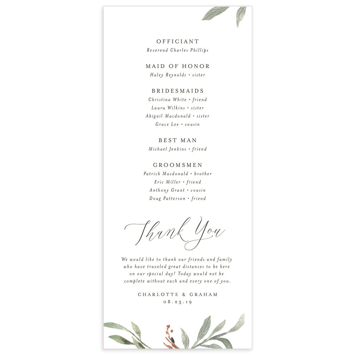 muted floral wedding programs in copper back
