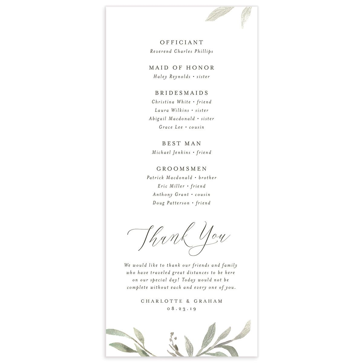 muted floral wedding programs in white back