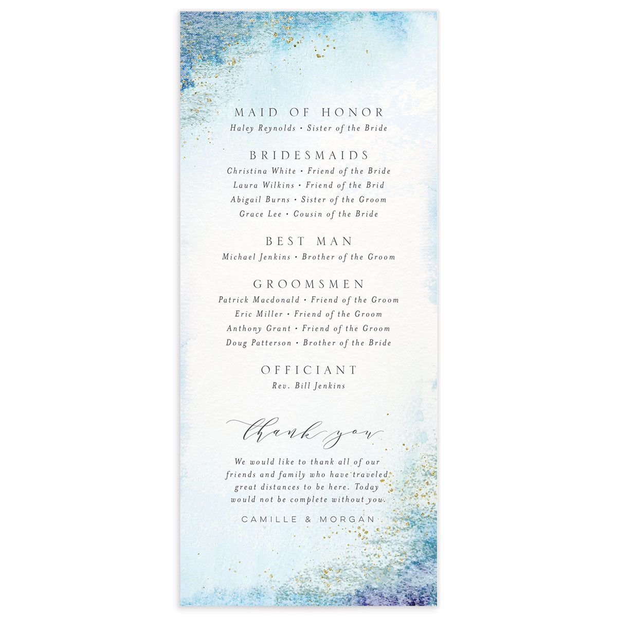 organic luxe wedding programs in blue back