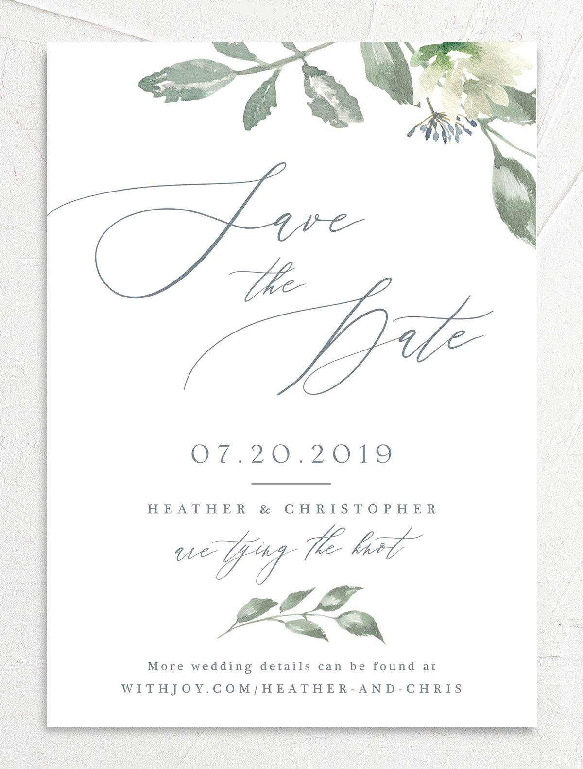 Dusted Calligraphy Save the Date blue front