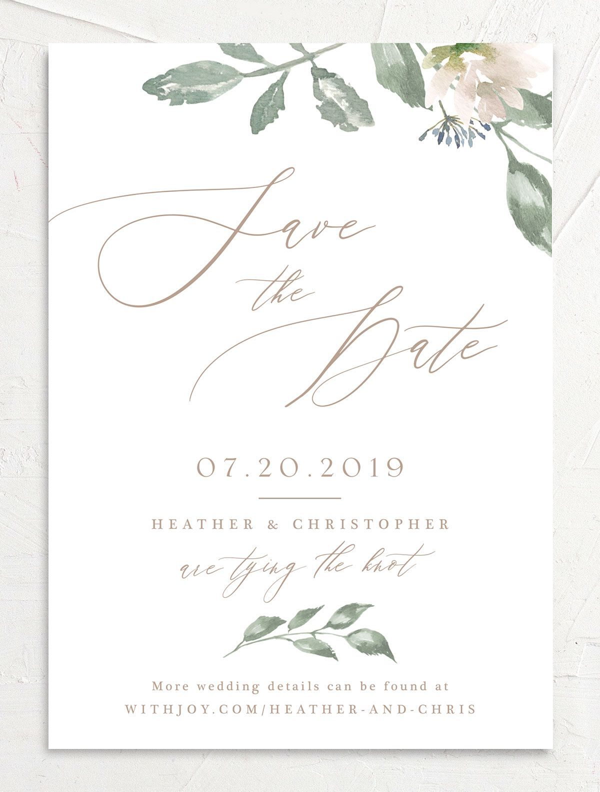 Dusted Calligraphy Save the Date pink front