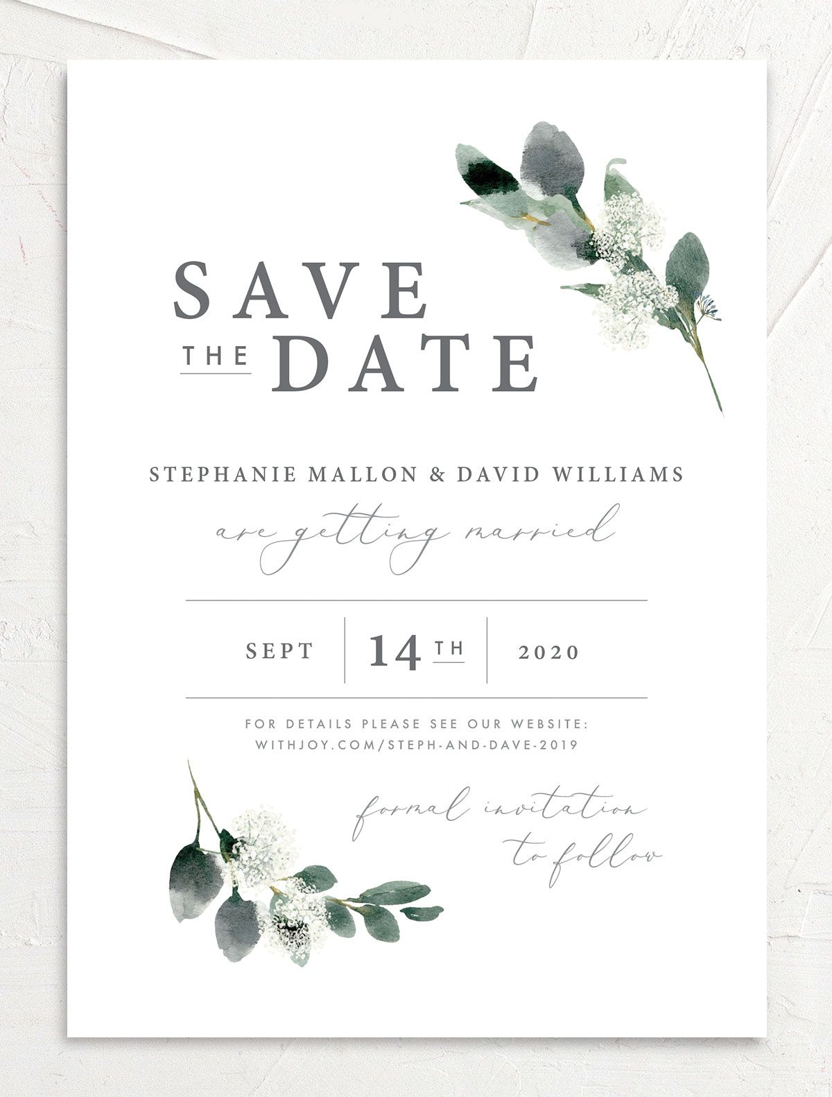 Elegant Greenery wedding Save the Date front
