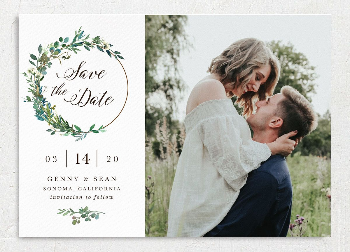 Greenery Hoops Wedding Announcement front