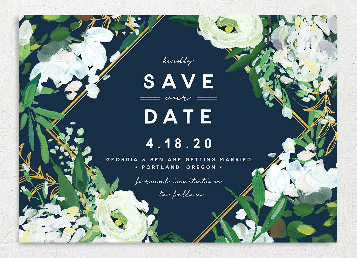 Painted Greenery wedding announcement in navy