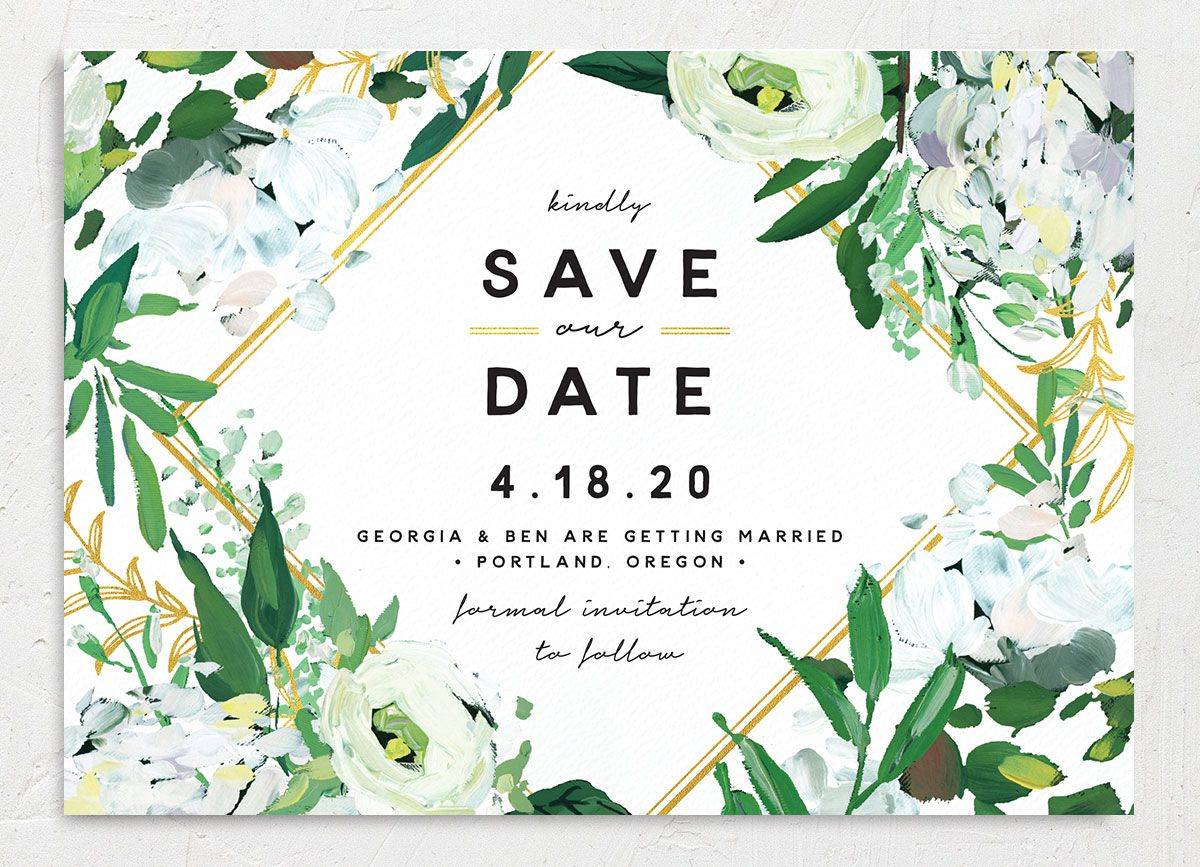 Painted Greenery wedding announcement in white
