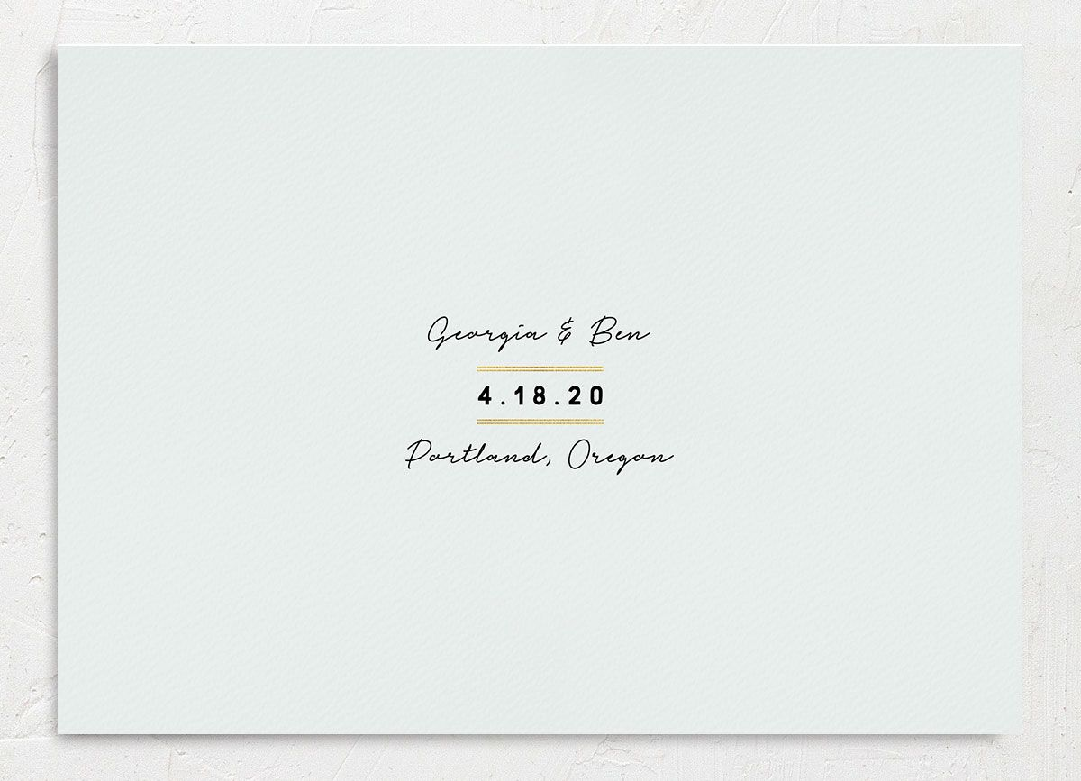 Painted Greenery wedding announcement in white back