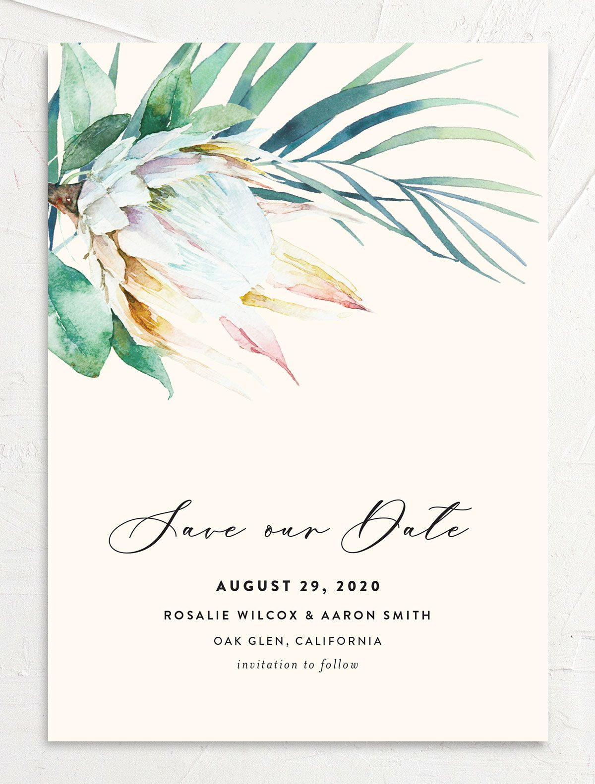 Palm and Protea Save the Date front
