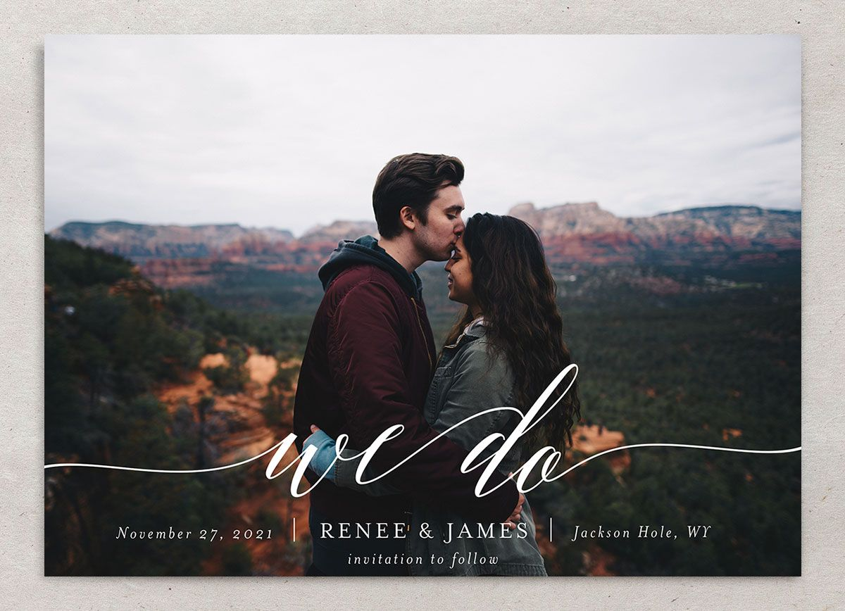 Scripted We Do Photo Save the Dates in grey