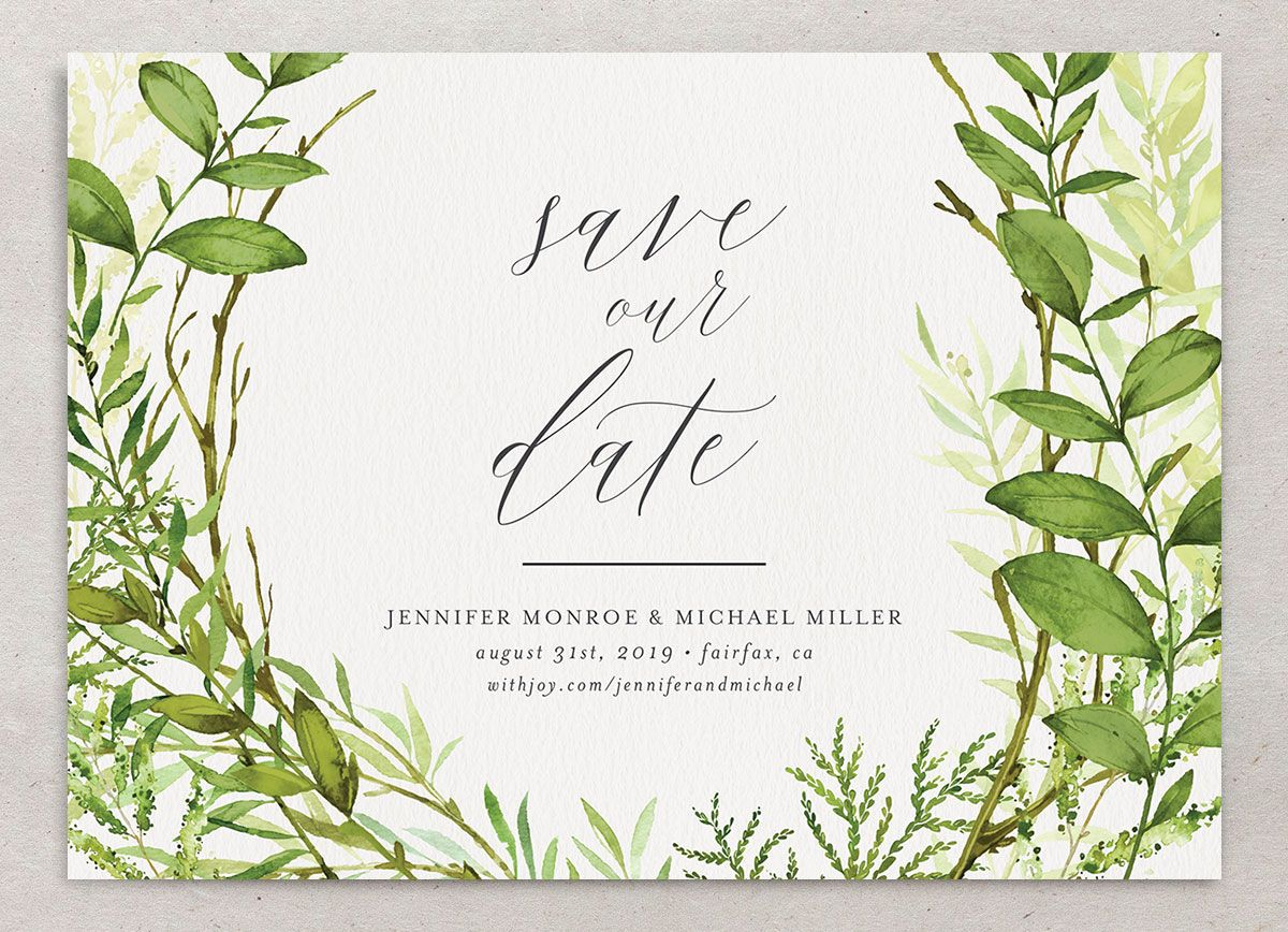 Watercolor Greenery Wedding Announcements