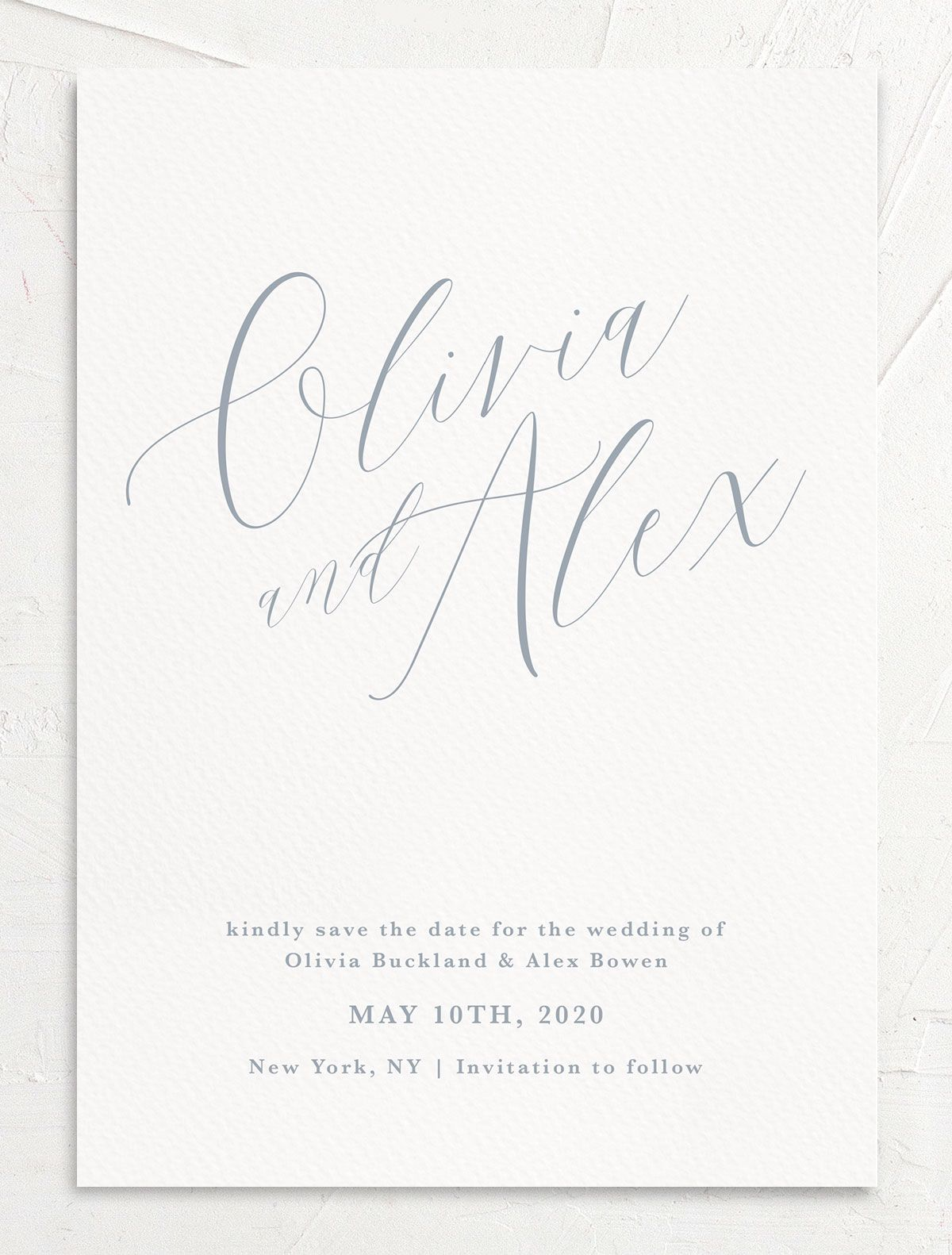 At Last Wedding Save the Date in blue front