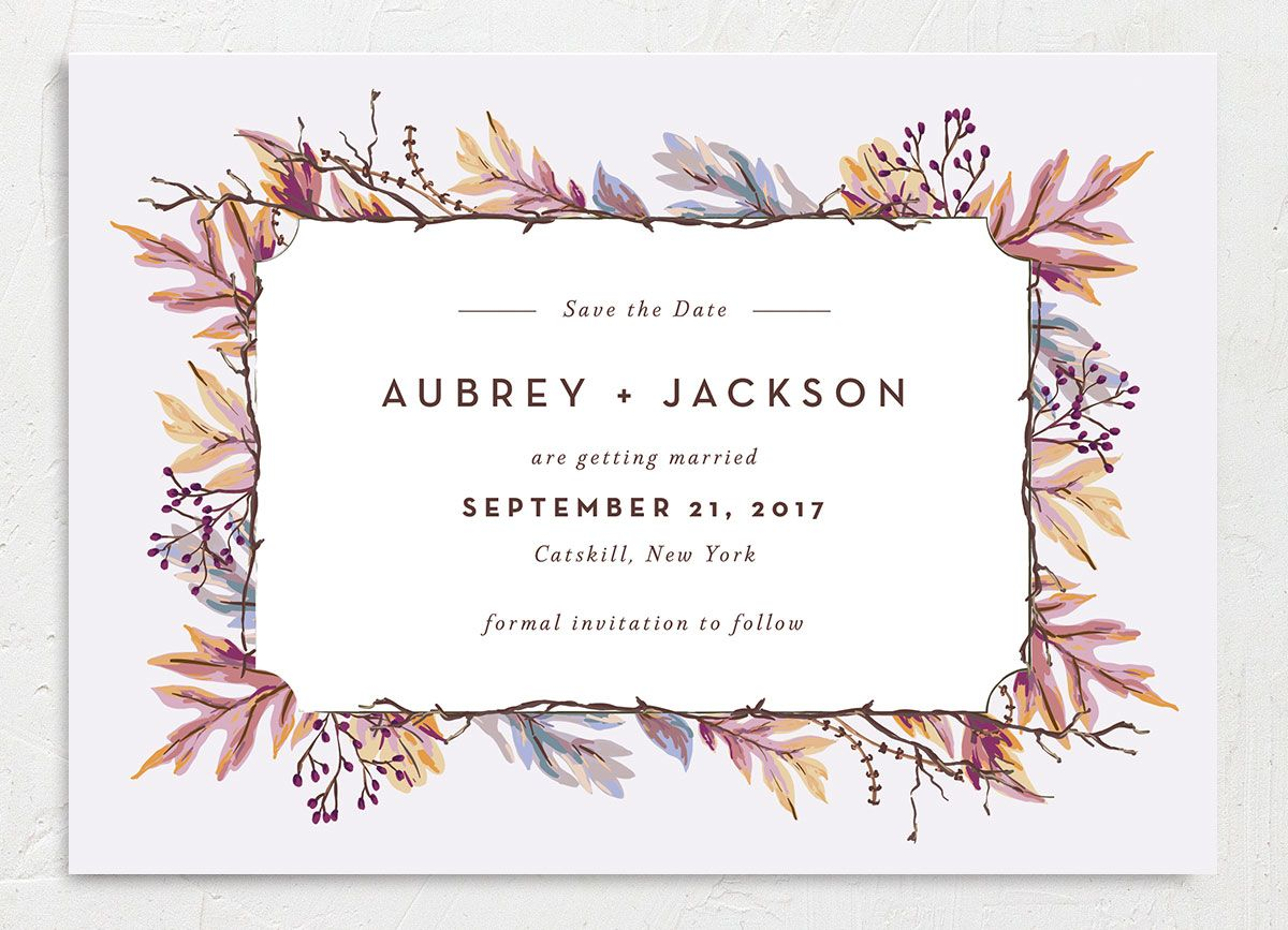 Autumn Leaves save the date front