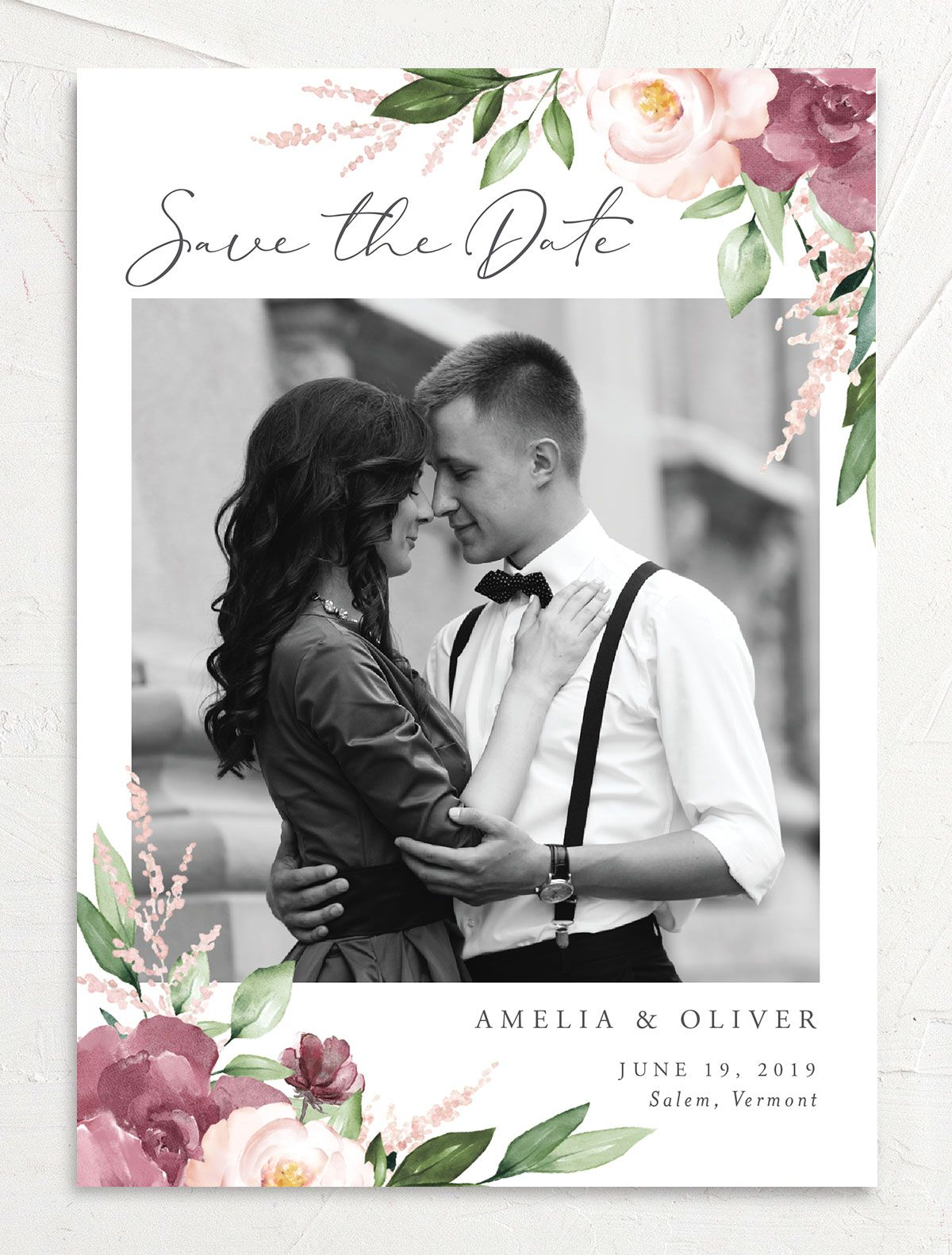 Beloved Floral Save the Dates in Purple