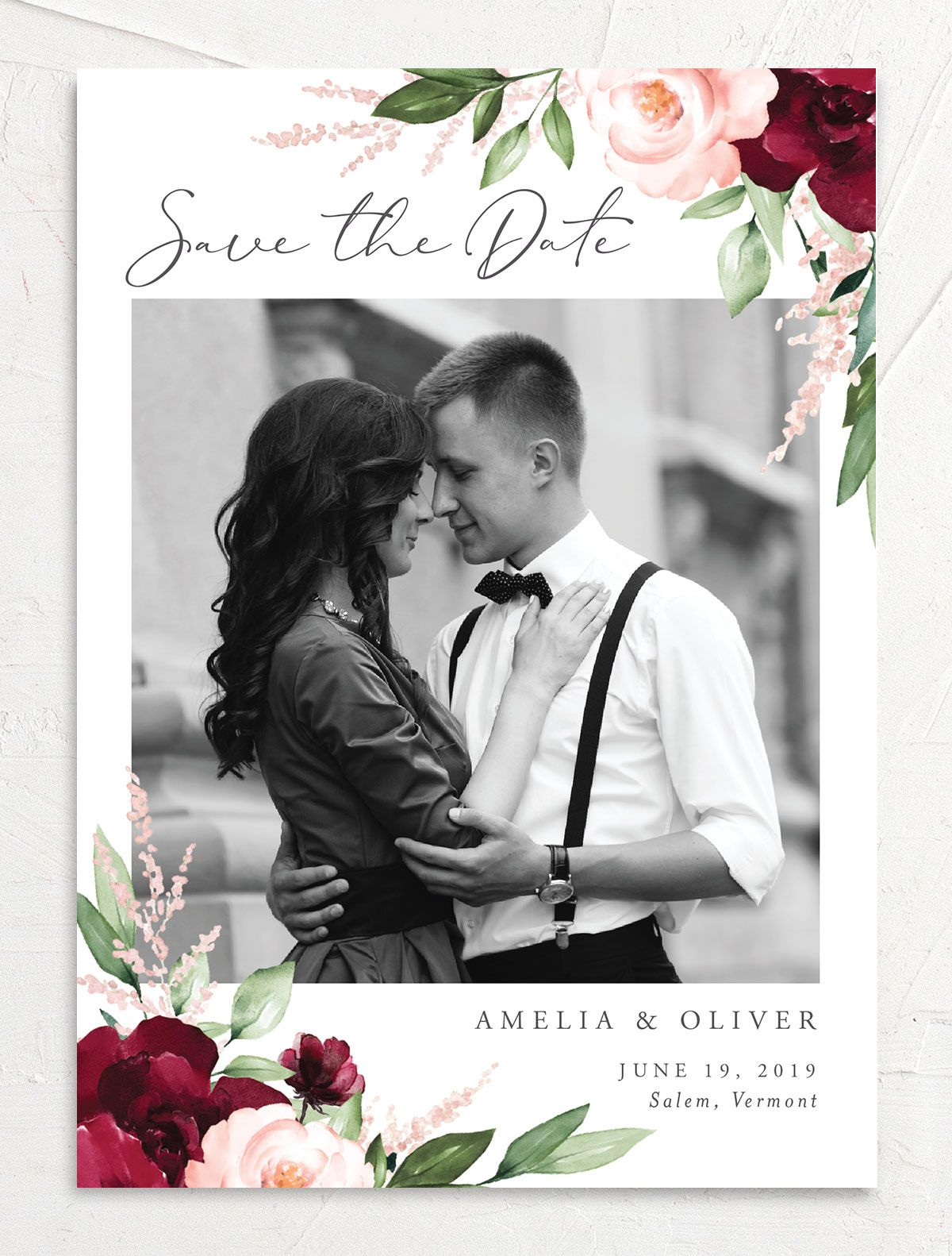 Beloved Floral Save the Dates in Red