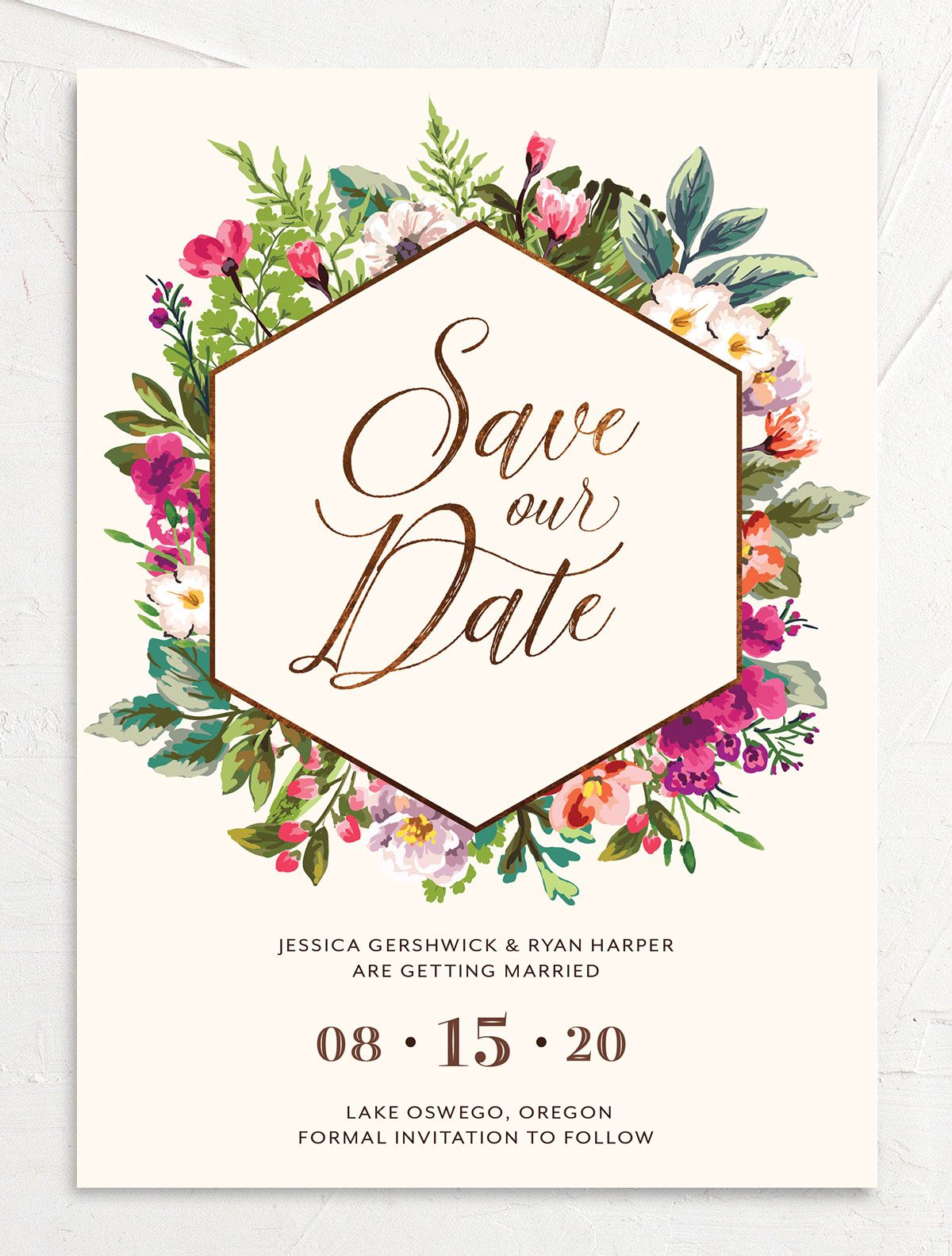 Bronze Floral Frame Wedding Announcements front closeup