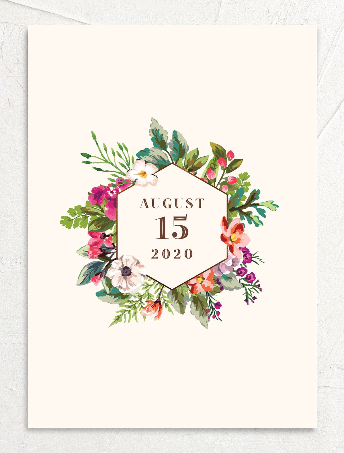 Bronze Floral Frame Wedding Announcements back closeup